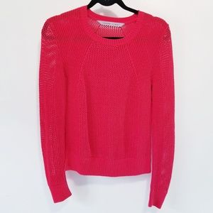 NWOT Athleta Red Ribbed Mesh Pullover Sweater